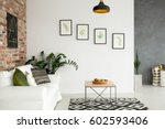 bright living room with sofa ... | Shutterstock . vector #602593406