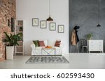 grey and white loft interior... | Shutterstock . vector #602593430