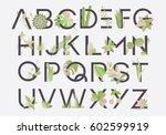 spring alphabet letters... | Shutterstock .eps vector #602599919