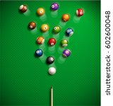 billiard table top view balls... | Shutterstock .eps vector #602600048