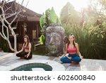 young women practicing yoga... | Shutterstock . vector #602600840