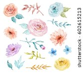 painted watercolor set of... | Shutterstock . vector #602615213