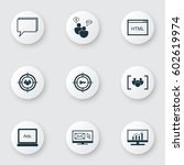 set of 9 seo icons. includes...   Shutterstock .eps vector #602619974