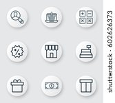 set of 9 ecommerce icons.... | Shutterstock .eps vector #602626373