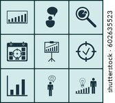 set of 9 management icons.... | Shutterstock .eps vector #602635523
