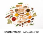 various herbs and spices on... | Shutterstock . vector #602638640