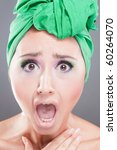 scared woman with green scarf...   Shutterstock . vector #60264070