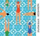 swimmer men and women engaged... | Shutterstock .eps vector #602644694