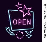 shining retro neon sign.... | Shutterstock .eps vector #602651060