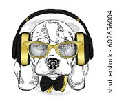 cute puppy in headphones  ... | Shutterstock .eps vector #602656004