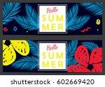 hello summer vector banners | Shutterstock .eps vector #602669420