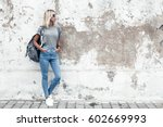 hipster girl wearing blank gray ... | Shutterstock . vector #602669993