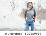 hipster girl wearing blank gray ...   Shutterstock . vector #602669999