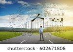 young businessman on crossroads ... | Shutterstock . vector #602671808