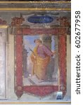 Small photo of ROME, ITALY - SEPTEMBER 03: Saint Hippolytus martyr fresco painting in Church of St Lawrence at Lucina, Rome, Italy on September 03, 2016.