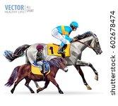 jockey on horse. boy riding a... | Shutterstock .eps vector #602678474
