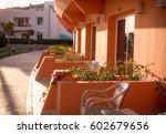 wicker chairs on hotel's... | Shutterstock . vector #602679656