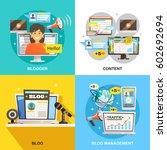 blogger concept square... | Shutterstock .eps vector #602692694