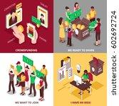 online crowdfunding and... | Shutterstock .eps vector #602692724