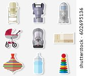 set of flat products icons for... | Shutterstock .eps vector #602695136