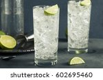 alcoholic vodka tonic highball... | Shutterstock . vector #602695460