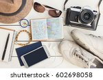 accessories for travel.... | Shutterstock . vector #602698058
