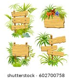 set of wooden banners with... | Shutterstock .eps vector #602700758