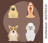 funny cartoon dog character... | Shutterstock .eps vector #602703110