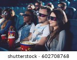 friends watching movie and... | Shutterstock . vector #602708768