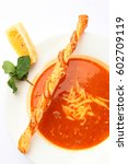 meatless tomato soup with bread ... | Shutterstock . vector #602709119