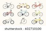 Retro Bicycle Flat Vector Set