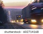 trucks on a highway in an... | Shutterstock . vector #602714168