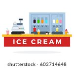 ice cream counter with food and ... | Shutterstock .eps vector #602714648
