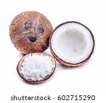 coconut and coconut chopped | Shutterstock . vector #602715290