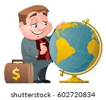 businessman with suitcase full... | Shutterstock .eps vector #602720834