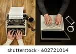 woman writing on a typewriter... | Shutterstock . vector #602721014
