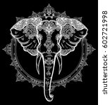 decorative vector elephant with ... | Shutterstock .eps vector #602721998