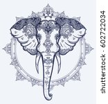 Decorative Vector Elephant Wit...