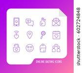 online dating icon set. love ... | Shutterstock .eps vector #602724848