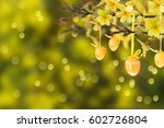 forsythia twigs and easter eggs ... | Shutterstock . vector #602726804