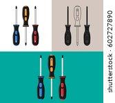 screwdrivers. set of... | Shutterstock .eps vector #602727890