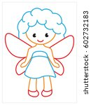 vector coloring book of fairy | Shutterstock .eps vector #602732183
