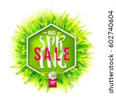 big spring sale label with... | Shutterstock .eps vector #602740604