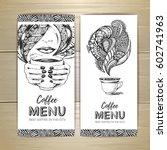 coffee menu design. decorative... | Shutterstock .eps vector #602741963