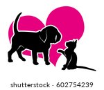 Stock vector vector icon puppy and kitten on the background of magenta heart vector illustration 602754239