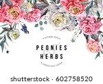 watercolor horizontal floral... | Shutterstock . vector #602758520