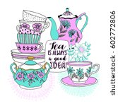 Set With Teapot And Cup. Vecto...