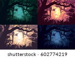 beautiful jungle landscapes set ... | Shutterstock .eps vector #602774219