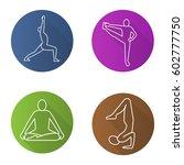yoga asanas flat linear long...   Shutterstock .eps vector #602777750