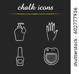 manicure chalk icons set. woman'... | Shutterstock .eps vector #602777936